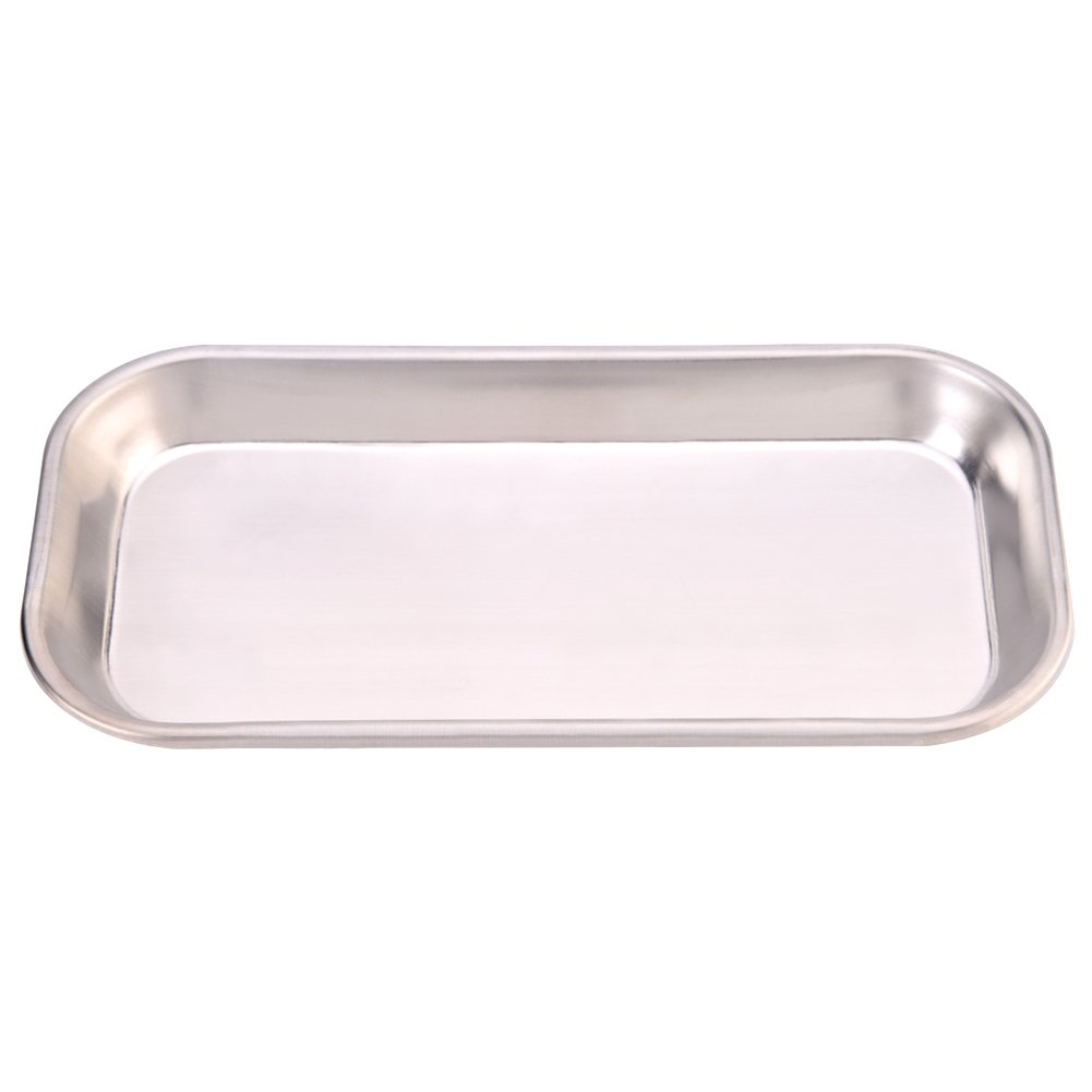 Walfront Stainless Steel Instrument Tray, Metal Rectangular Surgical Tray Lab Trays Useful Tool for Clinic Lab 8.85 × 4.52 × 0.78' Metal Rectangular Surgical Tray Lab Trays Useful Tool for Clinic Lab 8.85 × 4.52 × 0.78
