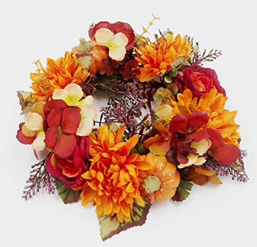 ES ESSENTIALS Fall Autumn Harvest Mum HYDRANDEA Pumpkin Small Wreath Candle Ring, ()