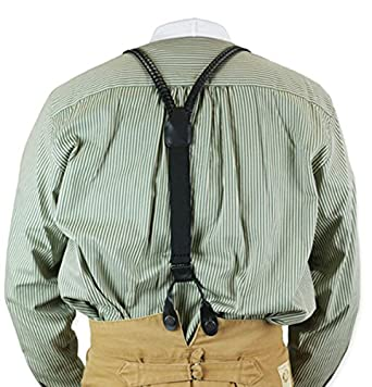 Victorian Men's Cane, Pocket Watch, Spats, Suspenders Braided Leather Y-Back Suspenders $41.95 AT vintagedancer.com