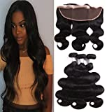Prom Rosa Hair Brazilian Body Wave 3 Bundles with Frontal Closure 13x4 Ear to Ear Lace Frontal with Bundles 10A Brazilian Virgin Human Hair Bundles Unprocessed Human Hair Extensions (14 16 16+12)