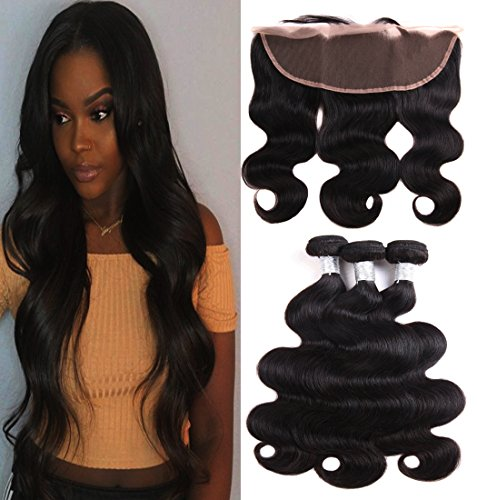Prom Rosa Hair Brazilian Body Wave 3 Bundles with Frontal Closure 13x4 Ear to Ear Lace Frontal with Bundles 10A Brazilian Virgin Human Hair Bundles Unprocessed Human Hair Extensions (14 16 16+12) by Prom Rosa Hair