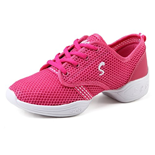 Chaussure Souple Semelle Respirant Gros Rose de Jazz Talon Sneakers Maille Chaussure Danse CHNHIRA Femme de T81HHq