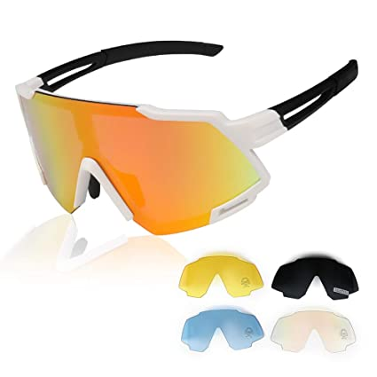 GARDOM Gafas de Ciclismo Deportivas Gafas de Sol Polarizadas para Hombres Mujeres con 4 Lentes Intercambiables para ...