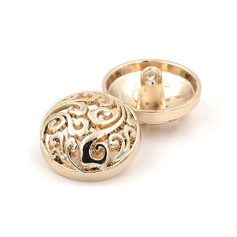LEEQ Fashion Hollow Botones Plateado/Dorado botón Perchero ...
