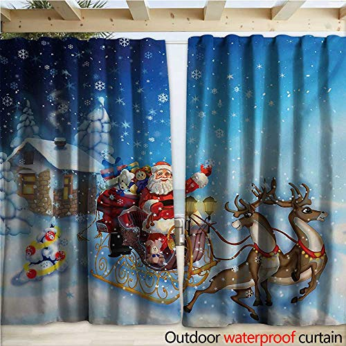 Drape for Pergola Curtain Santa in Sleigh with Reindeer and Toys in Snowy North Pole Tale Fantasy Image W120 x L96 Navy Blue ()