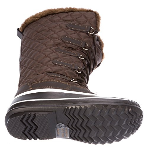 Lace Womans Weather Fleece Up Winter Shoes Warm Brown Lining Boots Cold 5rq58