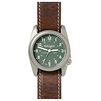 Bertucci 12094 Herren Braun Leder Band - Zifferblatt grÜn Smart Watch