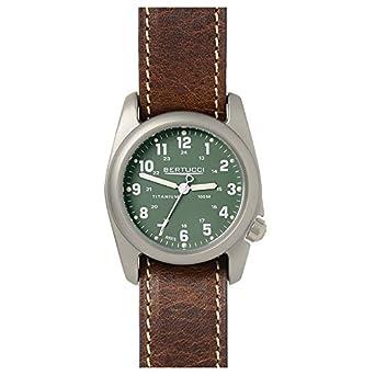 Bertucci 12094 Herren Braun Leder Band - Zifferblatt grÜn Smart Watch