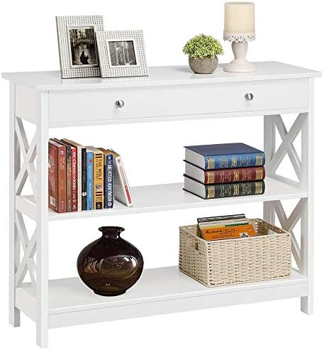 Yaheetech 3-Tier Sofa Side Console Table with 1 Drawer and 2 Storage Shelves Narrow Accent Table for Entryway Hallway Living Room, 39.3in L x 11.7in W x 31.5in H, White