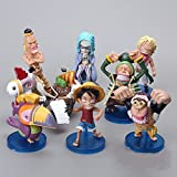 8pcs/lot 7-8cm. Anime One Piece Monkey D Luffy Bellamy Going Merry Q Version Mini PVC Action Figures Model Toys Dolls