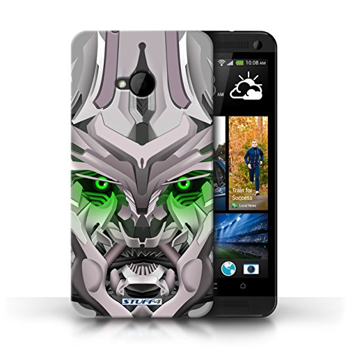 Etui / Coque pour HTC One/1 M7 / Mega-Bot Vert conception / Collection de Robots