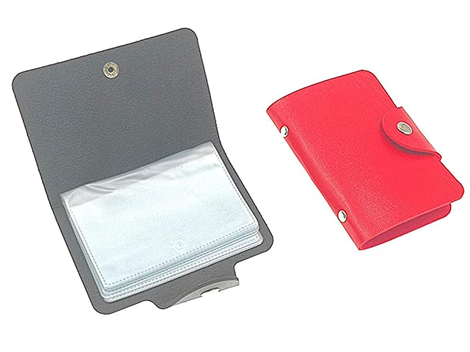 78e589bdfec0 2pcs Credit Card Holder Wallet, PU Leather Card Protector Case with ...