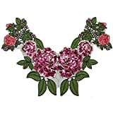 New 1Pcs Unique 3D Stereoscopic Embroidered Sequins Collar Flower Lace Trim Neck Applique Clothing Accessories Diy^Purple.