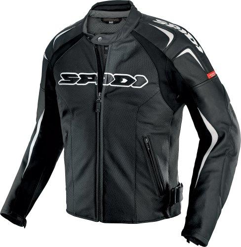 Spidi Track Wind Vented Mens Black/White Leather Jacket - 46