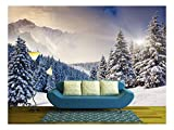 wall26 - Fantastic Evening Winter Landscape. Dramatic Overcast Sky. Creative Collage. Beauty World. - Removable Wall Mural | Self-Adhesive Large Wallpaper - 100x144 inches
