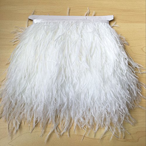 1 Meter Ostrich Feather Trim Fringe with Satin Ribbon Fluffy Feather Trimming Boa Stripe Plume Puffs for Party Dress Dance Costume Craft Making (White) ()