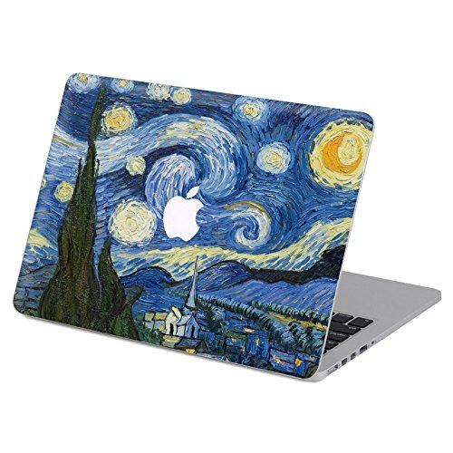 Customized Famous Painting Series Vincent Van Gogh Starry Night Special Design Removable Vinyl Decal Top Front-cover Sticker Skin for Macbook Pro 13