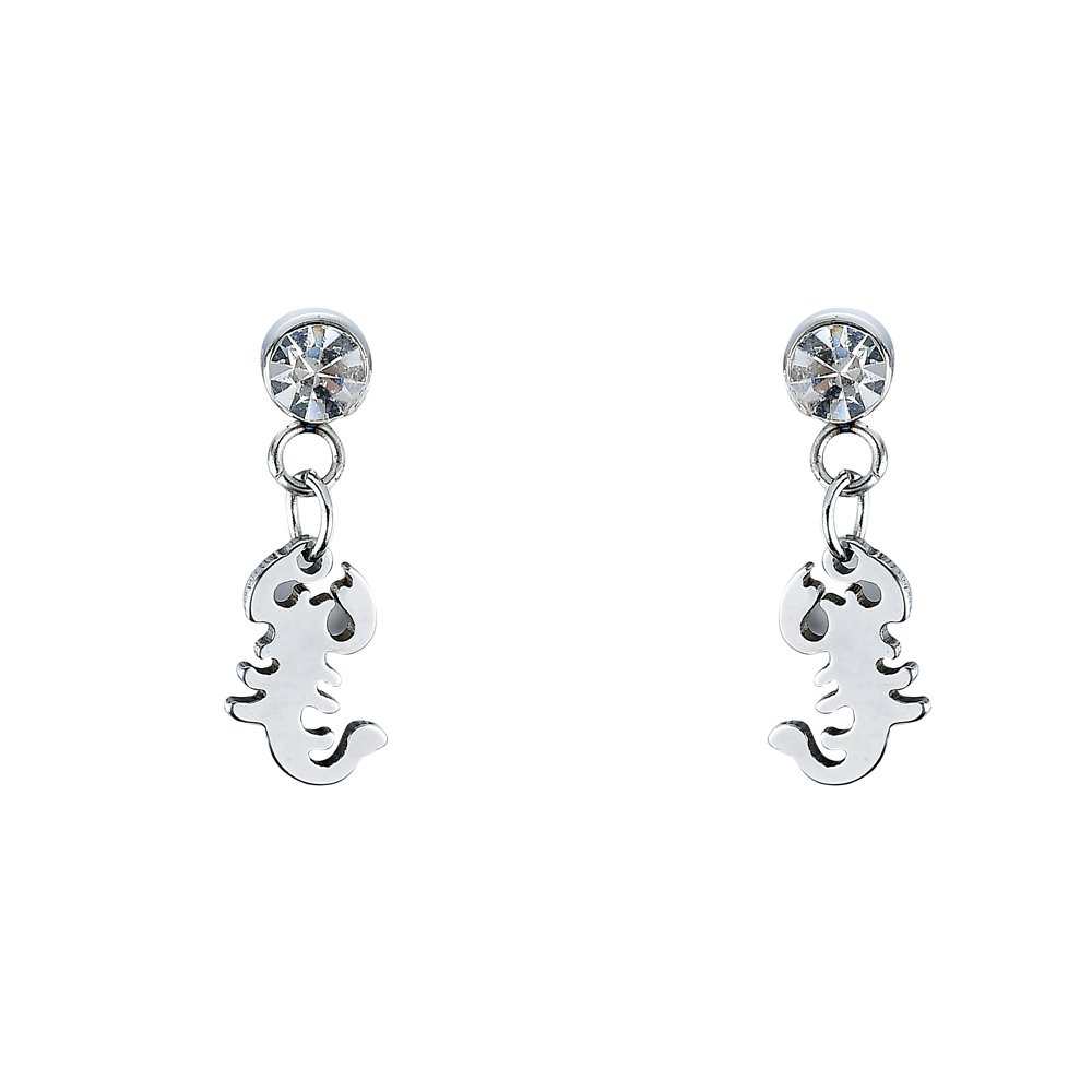 JADA Collections Silver Tone Stainless Steel Unisex Stud Earrings with Dangle Charm