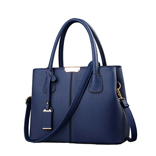 (B&E Life Stylish Women Pu Leather Vertical Utility Top Handle Handbag Satchel Tote Purse Bag)