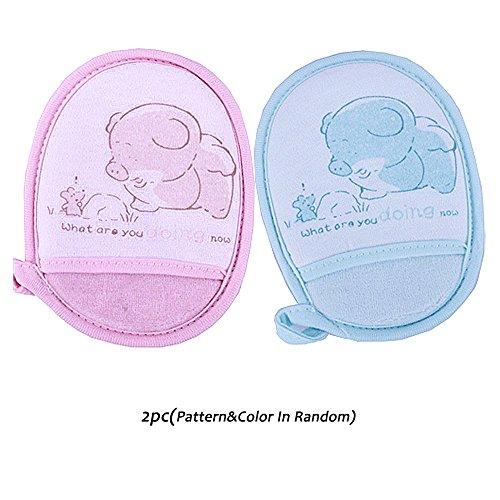 Sealive Newborn Baby Bath Brush- Natural Breathe Freely Soft Pure Cotton Baby Bath Foam Rub Shower Sponge 2 pcs Random Pattern&Color