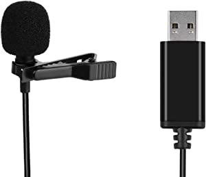 Universal Lavalier USB Microphone for Computer with USB Adapter Compatible with Laptop, Desktop, Pc and Mac,Podcasting,Vlog,YouTube Gaming, Remote Work Interview and Laptop Microphone(4.92-Foot Cord)