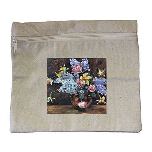 Roses Lilacs Daffodils (Lovis Corinth) Canvas Zippered Pouch Makeup Bag Corinth Rose