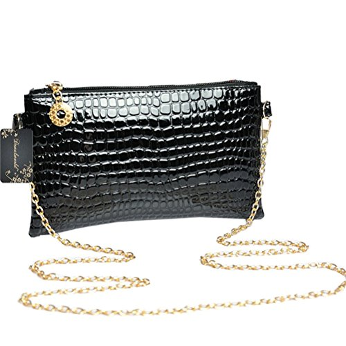 Donalworld Women Alligator Pattern Chain Strap Purse Shoulder Bag Black