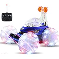 Haktoys HAK101 Blue Upgraded Invincible Tornado Acrobatic Stunt RC Car, Radio-Controlled Rechargeable Vehicle with Flashing LED Lights & Music Switch, Safe & Durable, Gift for Kids, Boys & Girls