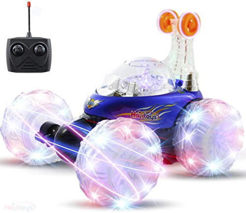 Haktoys HAK101 Blue Upgraded Tornado Acrobatic Stunt RC Car, Multi-functional Radio-Controlled Rechargeable Vehicle with Flashing LED Lights & Music Switch, Safe & Durable, Gift for Kids, Boys & Girls