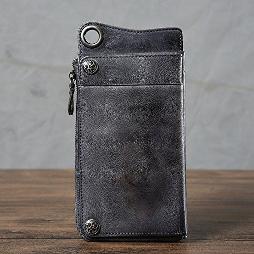 Pflanzlich gegerbtes Leder Brieftasche männer und frauen leder Retro Tasche hand-gebürstet Farbe hand Tasche wallet Lange Zipper Wallet 20 * 10 CM Blau Grau o7gHl