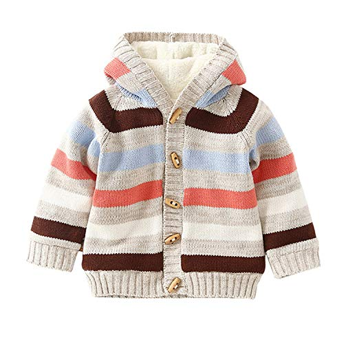 Baby Toddler Boys Girls Striped Long Sleeve Sweaters Cardigan Warm Outerwear Jacket (2T-3T Tag Size: 4A, Beige)