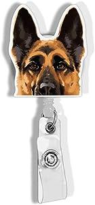 WIRESTER Retractable Badge Reel ID Holder with Alligator Clip for Office Worker, Medical Staffs, Student - Black Tan German Shepherd Dog