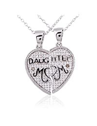 """Sterling Silver Rhodium Plated Diamond Accent 2 Peace Broken Heart Daughter and Mom Pendant Necklace, 18"""""""