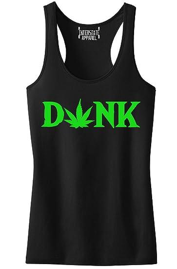 Dank Weed Leaf V359 Tee Junior's Black Racerback Tank Top T-Shirt Medium Black