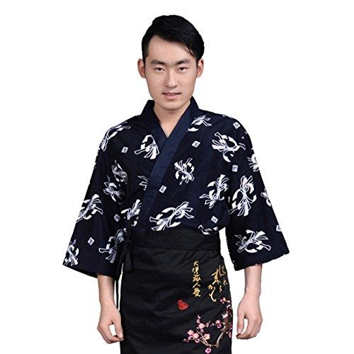(Jiyaru Unisex Sushi Chef Jacket Kimono Japanese Uniform Waiter Coat Workwear #2 Asian M)
