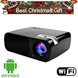 FastFox Android Video Projector 2600 Lumen 800x480 Multimedia LCD LED Slide Beamer Office Presentation Indoor Family Proyector Gift Movie night for PC Laptop Powerpoint Black Color