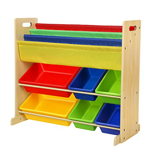 Oxford Wall Cabinet - SONGMICS Combo Book & Toy Storage Organizer Sling Book Rack with 6 Plastic Bins and 3-Pocket Book Shelf Multicolor UGKR03Y