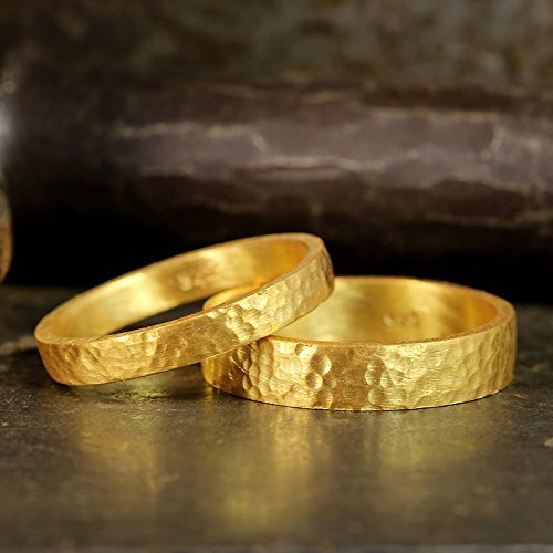 FREE Custom Engraving Matching Wedding Bands Set 24K Yellow Gold Vermeil 925 Sterling Silver Hammered Texture Flat Pipe Cut His and Hers Thick Hand Forged Wedding Rings