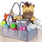 Baby Diaper Caddy Organizer, Nursery Storage Organizer, Portable Changing Table Basket Great Bin for Baby Girls & Boys, Car Travel Tote Bag and Shower Gift by Bubbaloo (Playful Pink)