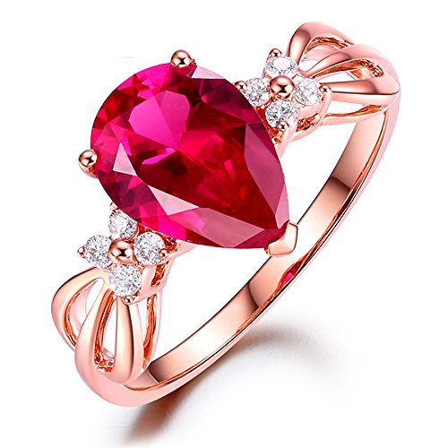 Kardy Fashion Elegant Women's Pink Tourmaline Gemstone Solid 14K Rose Gold Diamond Diamond Fine Ring Band Sets by Kardy