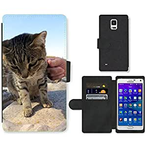 PU LEATHER case coque housse smartphone Flip bag Cover protection // M00133404 Turquía Gato // Samsung Galaxy Note 4 IV