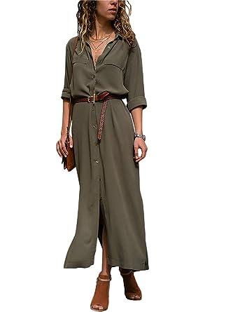 63f6f5dbad3af ORANDESIGNE Donna Vestiti Lunghi Eleganti Vestito con Scollo a V Manica  Lunga Casuale Pianura Camicia Abiti Vestiti Tinta Unita  Amazon.it   Abbigliamento