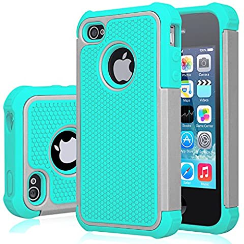 iPhone 4S Case, Jeylly(TM) [Shock Proof] Plastic Outer + Rubber Silicone Inner Scratch Absorbing Hybrid Rubber Plastic Impact Defender Rugged Slim Hard Case Cover Shell For Apple iPhone (Iphone 4 Stowaway Case)