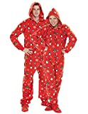 Footed Pajamas - Holly Jolly Christmas Adult Hoodie Drop Seat