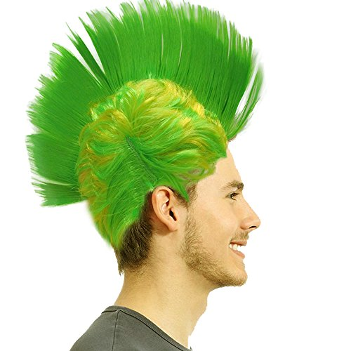 Light-up Blinking LED Party Wig - Rave Halloween Party Costume - Green]()
