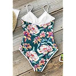 CUPSHE Women's Full Blossom V-Neck Piping Design One-Piece Swimsuit