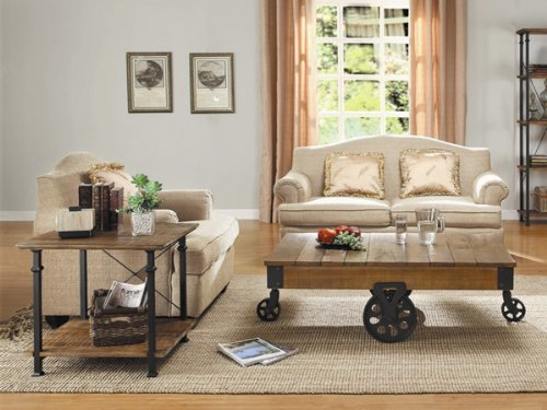 - Home Elegance Factory 2 Piece Coffee Table Set in Rustic Brown