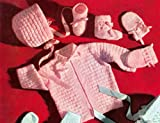Knit a Baby Set Pattern - Knitting Patterns for Knitted Baby Block Set Pattern for Jacket, Cap, Booties, Mittens