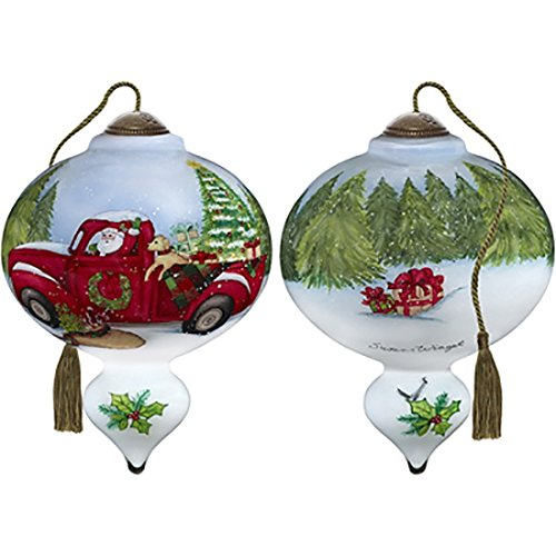 Ne'Qwa Art Hand Painted Blown Glass Santa's Special Delivery Ornament, Multicolor ()