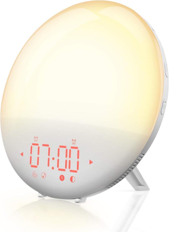 Réveil Lumineux Mpow avec Simulation du Lever du Soleil, Double Réveil, 6 Sons Naturels, FM Radio Réveil Lumineux, Fonction Snooze et Lampe de